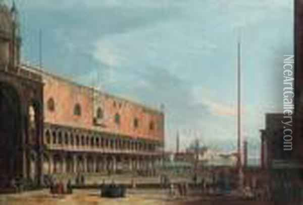 Venice: The Piazzetta And The  Doge's Palace Looking South Towardsthe Church Of San Giorgio Maggiore Oil Painting - Apollonio Domenichini