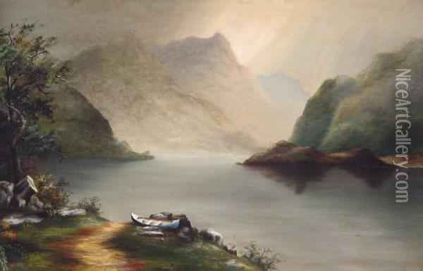 Luminous Hudson River Schoollandscape Oil Painting - Thomas Doughty