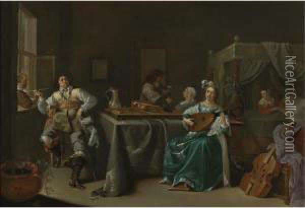 A Merry Company In An Interior Oil Painting - Jacob Duck