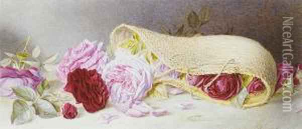 Roses Spilling From A Wicker Basket Oil Painting - Mary Elizabeth Duffield