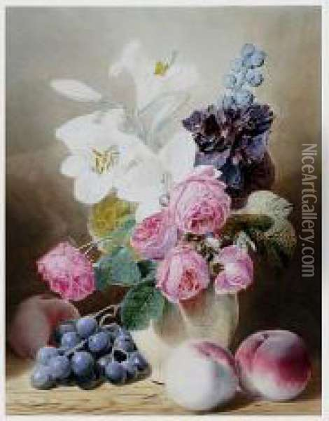 Still Life With Roses, Lilies, Grapes And Peaches Oil Painting - Mary Elizabeth Duffield