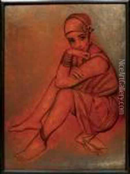 Jeune Fille Assise Oil Painting - Jean Dunand