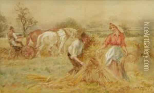 In The Harvest Field Oil Painting - Walter Duncan