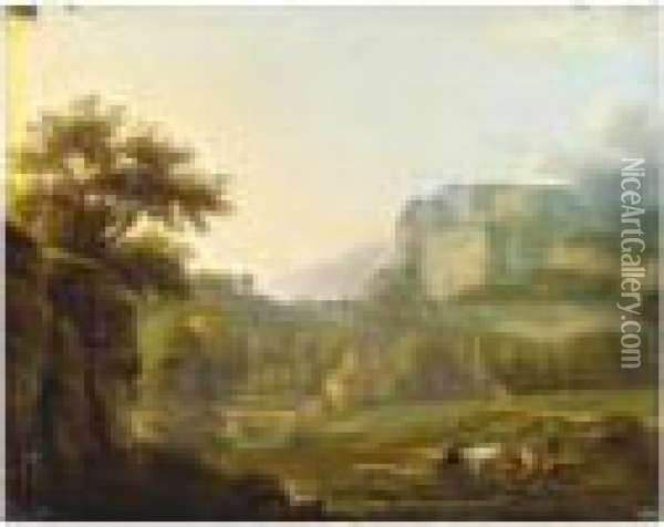 Paysage Montagneux Oil Painting - Alexandre-Hyacinthe Dunouy