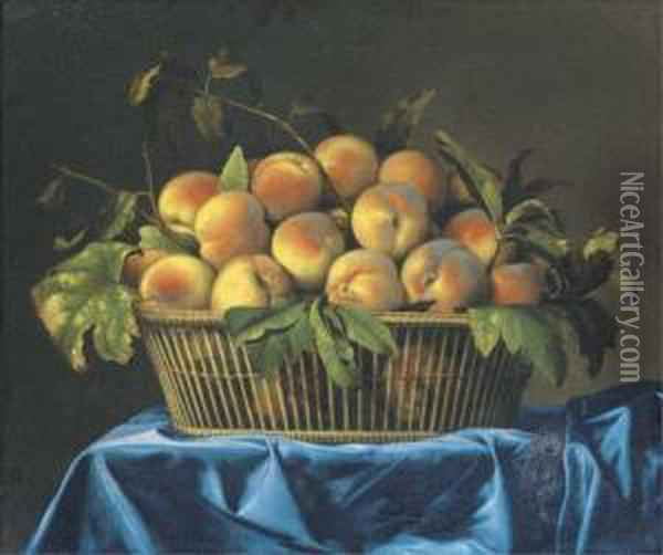 Peaches In A Wicker Basket On A Draped Table Oil Painting - Pierre Dupuis
