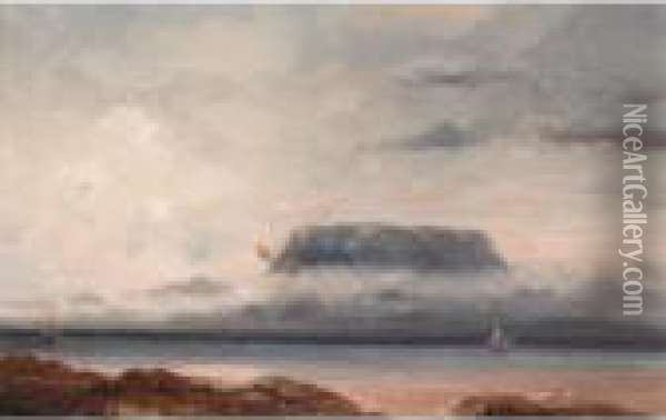 View Of Table Mountain, Cape Town Oil Painting - Jean Baptiste Henri Durand-Brager