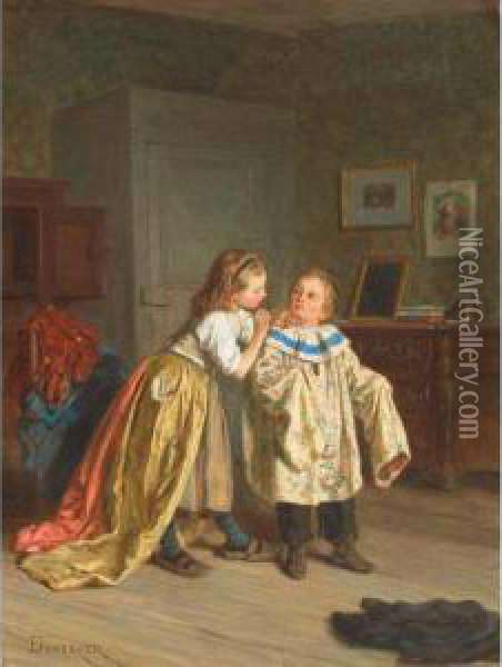 Amateur Theatricals Oil Painting - Theophile-Emmanuel Duverger