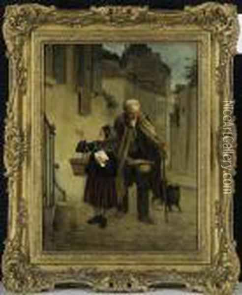 Collecting For The Needy Oil Painting - Theophile-Emmanuel Duverger