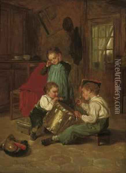 Beating The Drum Oil Painting - Theophile-Emmanuel Duverger
