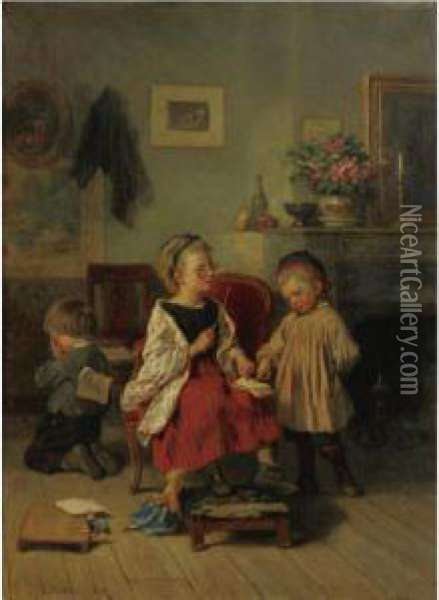 The Stern Teacher Oil Painting - Theophile-Emmanuel Duverger