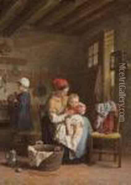 French, - Family In Asunlit Kitchen Oil Painting - Theophile-Emmanuel Duverger