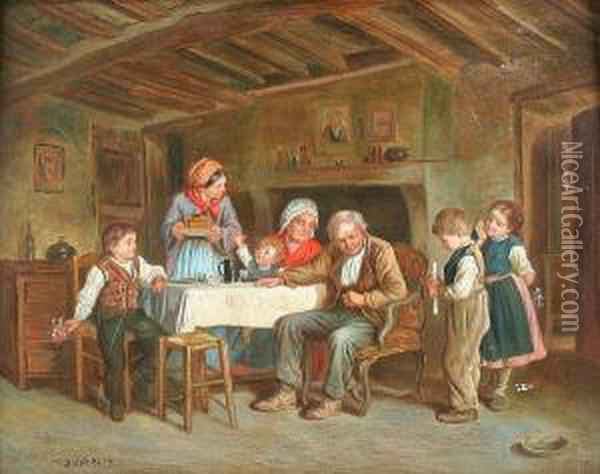 Interior With Family Gathered Around The Table Oil Painting - Theophile-Emmanuel Duverger
