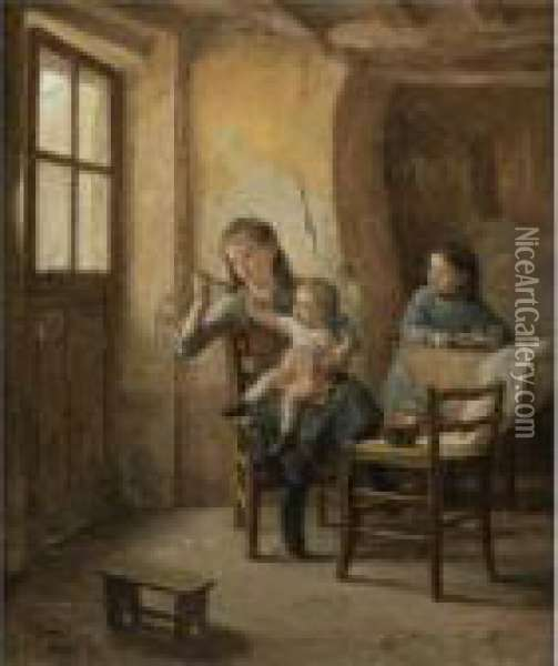 The Children's Meal Oil Painting - Theophile-Emmanuel Duverger