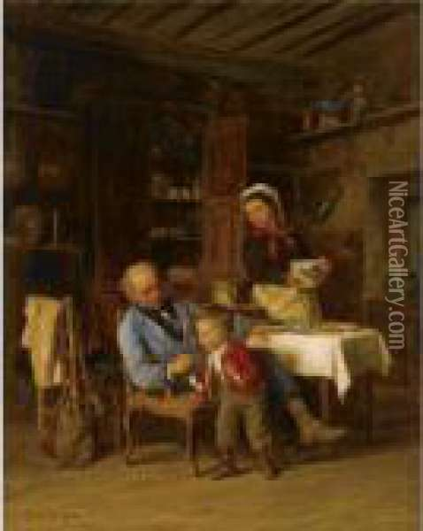 The First Smoke Oil Painting - Theophile-Emmanuel Duverger