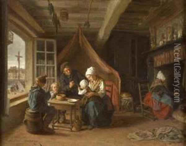 A Fisherman's Familly Oil Painting - Theophile-Emmanuel Duverger