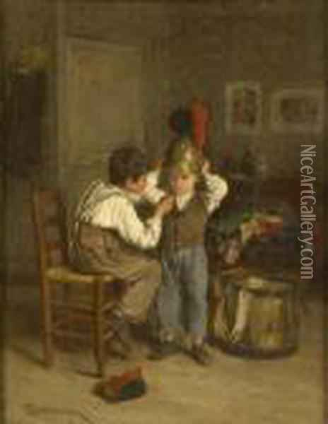 Playing At Soldiers Oil Painting - Theophile-Emmanuel Duverger