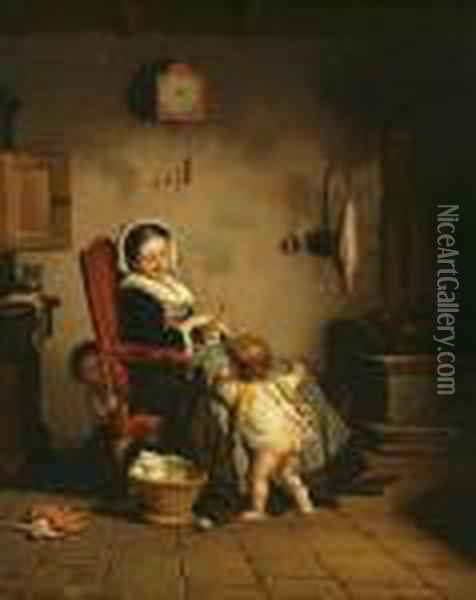 Mother With Children Oil Painting - Theophile-Emmanuel Duverger