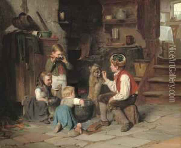 Breakfast Time Oil Painting - Theophile-Emmanuel Duverger