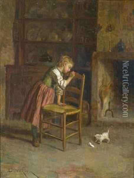 A New Friend Oil Painting - Theophile-Emmanuel Duverger
