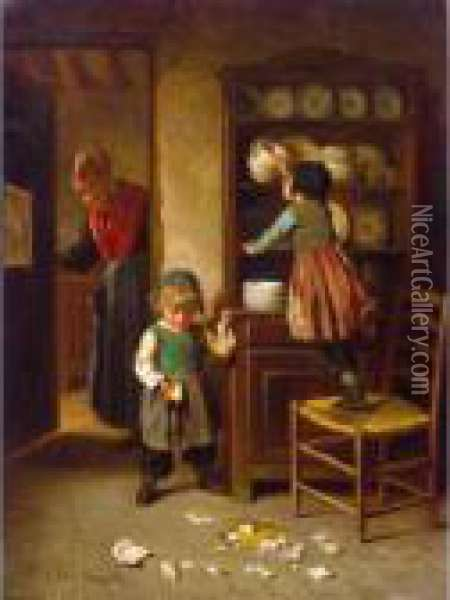 Betises Oil Painting - Theophile-Emmanuel Duverger