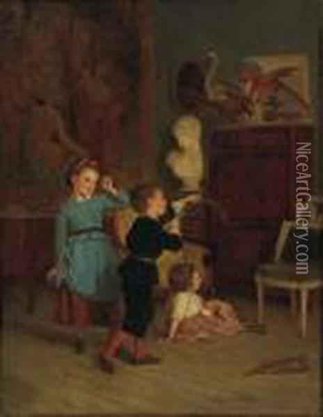 Young Archer Oil Painting - Theophile-Emmanuel Duverger