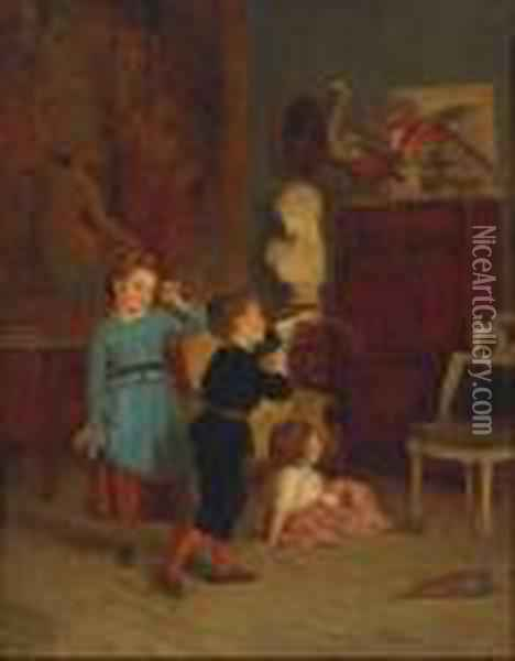 The Young Archer Oil Painting - Theophile-Emmanuel Duverger