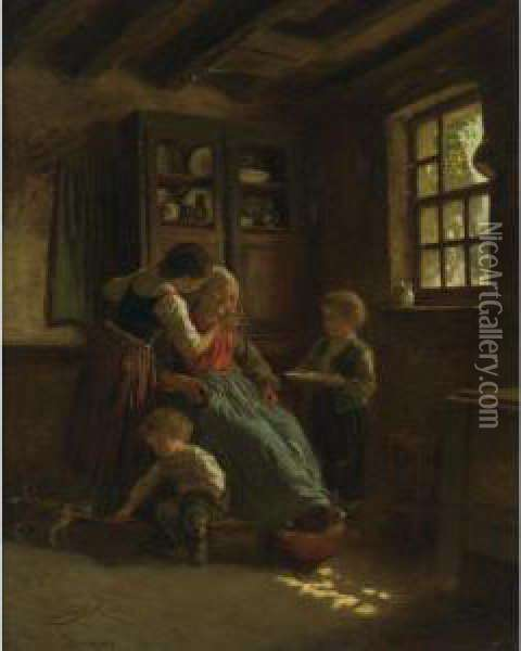 Granny's Rest Oil Painting - Theophile-Emmanuel Duverger