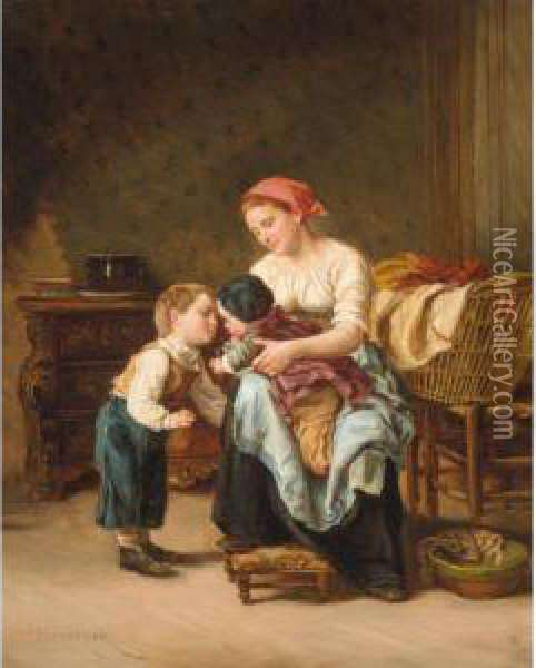 L'amour Fraternel Oil Painting - Theophile-Emmanuel Duverger