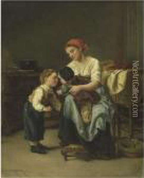 The Good-night Kiss Oil Painting - Theophile-Emmanuel Duverger