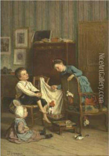 The Puppet Show Oil Painting - Theophile-Emmanuel Duverger