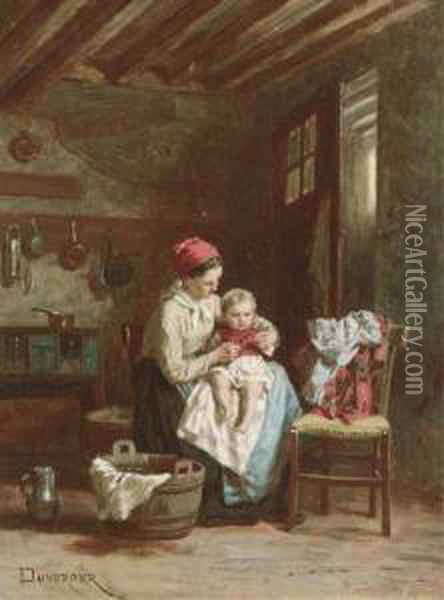 A Mother And Child At Home Oil Painting - Theophile-Emmanuel Duverger