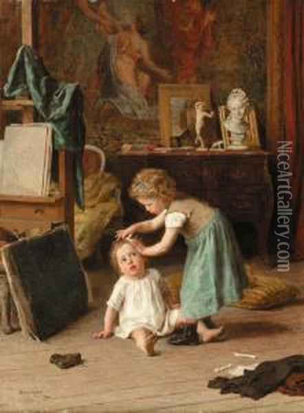 A Touch Of Pampering Oil Painting - Theophile-Emmanuel Duverger