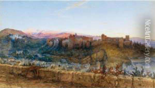 View Of The Alhambra From The North Oil Painting - Charles Earle