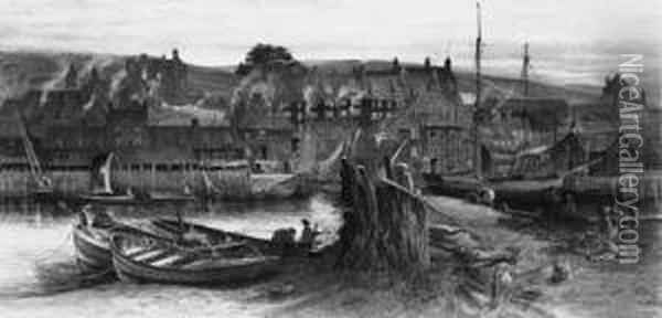 Figures Mending The Nets At Whitby Harbour Oil Painting - Charles Earle