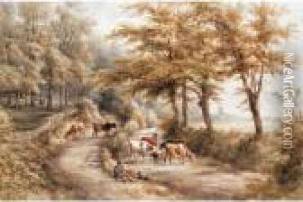 Landscape With Cattle And A Cathedral In The Distance Oil Painting - Henry Earp