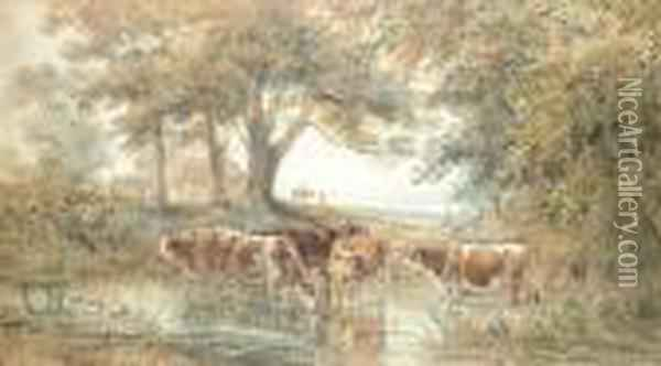 Cattle Watering In A Woodland Pool Oil Painting - Henry Earp