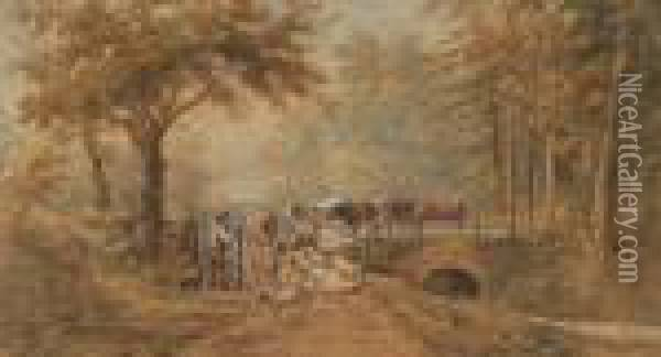 Farmer And Cattle With Sheep And Dog By Gate Oil Painting - Henry Earp