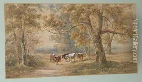 Drover And Cattle On A Lane; Travellers Resting Oil Painting - Henry Earp