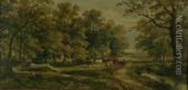 Cattle On A Wooded Country Lane Oil Painting - Henry Earp