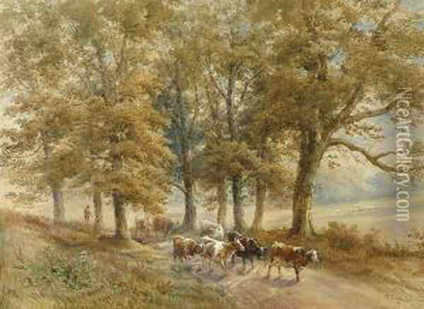 Droving Cattle Down A Rural Lane Oil Painting - Henry Earp