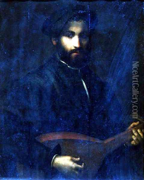 The Guitar Player Oil Painting - Giulio Campi
