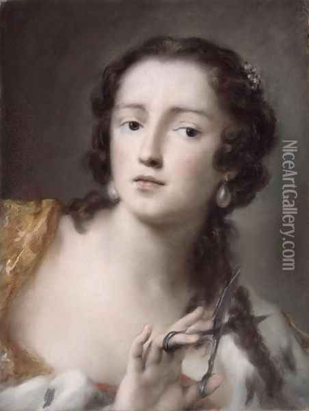 Caterina Sagredo Barbarigo as 'Bernice', c.1741 Oil Painting - Rosalba Carriera