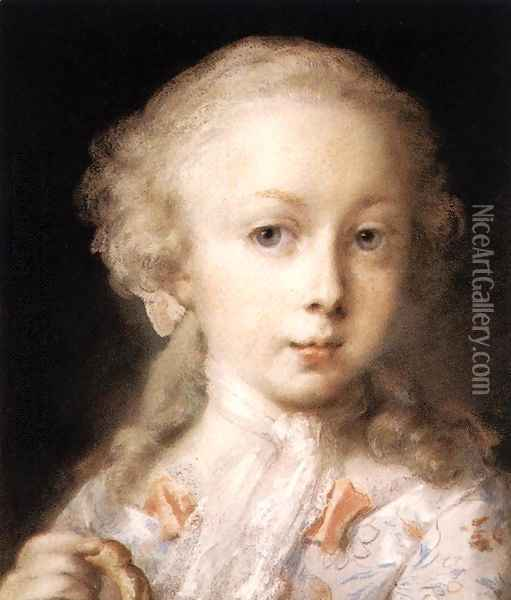 Young Lady of the Leblond Family. c. 1730 Oil Painting - Rosalba Carriera