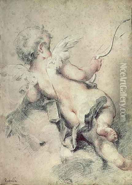 Cupid Lying on the Clouds Oil Painting - Rosalba Carriera