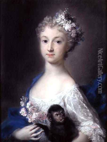 Girl holding a monkey Oil Painting - Rosalba Carriera