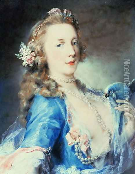 A young lady with a parrot Oil Painting - Rosalba Carriera