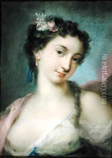 Portrait of a Lady as Flora Oil Painting - Rosalba Carriera