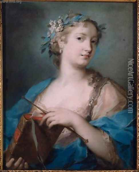 Portrait of a Woman Wearing a Laurel Wreath Oil Painting - Rosalba Carriera