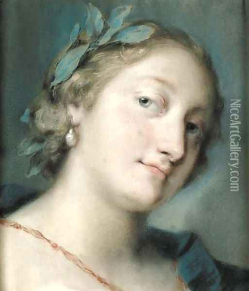Portrait of a poetess crowned with a laurel wreath, bust-length Oil Painting - Rosalba Carriera