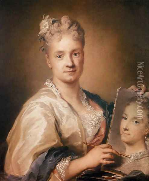 Self-Portrait Holding a Portrait of Her Sister Oil Painting - Rosalba Carriera